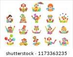happy cartoon friendly clowns...   Shutterstock .eps vector #1173363235