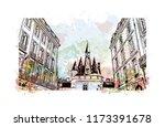 building view with landmark of... | Shutterstock .eps vector #1173391678