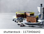 Chocolate Cake On A White Plate....