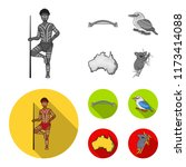 aborigine with a spear  sydney... | Shutterstock .eps vector #1173414088
