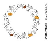 happy thanksgiving drawing with ... | Shutterstock .eps vector #1173421378