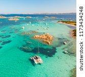 drone aerial view of catamaran... | Shutterstock . vector #1173434248