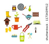 gardening icons set in flat... | Shutterstock . vector #1173439912