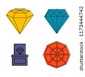 diamond icon set. color outline ... | Shutterstock . vector #1173444742