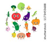 smiling vegetables icons set....   Shutterstock . vector #1173453688