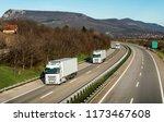fleet or convoy of trucks in... | Shutterstock . vector #1173467608