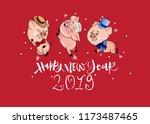 happy new year 2019.... | Shutterstock .eps vector #1173487465
