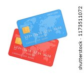 red and blue credit cards in... | Shutterstock .eps vector #1173511072