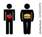 man with healthy apple and with ... | Shutterstock .eps vector #1173511975