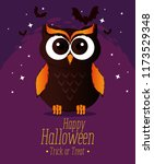 Happy Halloween Card With Owl