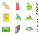 interactive icons set. cartoon...