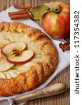 Delicious apple pie and spices. - stock photo