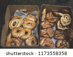 box with fresh bakery on tel... | Shutterstock . vector #1173558358