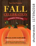 vector autumn party poster with ... | Shutterstock .eps vector #1173562318