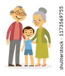 smiling grandparents with... | Shutterstock .eps vector #1173569755