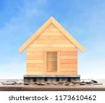 house on a pile of coins money | Shutterstock . vector #1173610462
