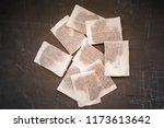 tea bags on a concrete... | Shutterstock . vector #1173613642
