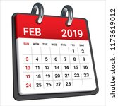 february 2019 monthly calendar... | Shutterstock .eps vector #1173619012