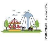 doodle children eating and... | Shutterstock .eps vector #1173620242