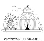 line funny circus with carnival ... | Shutterstock .eps vector #1173620818