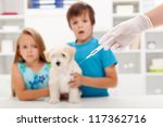 Kids at the veterinary doctor with their little kitten about to get an injection - stock photo