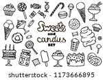 doodle candy set. collection of ... | Shutterstock .eps vector #1173666895