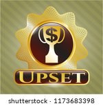 gold shiny emblem with trophy... | Shutterstock .eps vector #1173683398