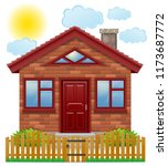 small country house with a... | Shutterstock . vector #1173687772