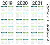 year 2019 2020 2021 calendar... | Shutterstock .eps vector #1173696475