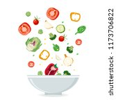bowl of vegetable salad with... | Shutterstock .eps vector #1173706822