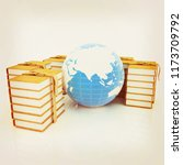 leather books and earth. 3d... | Shutterstock . vector #1173709792