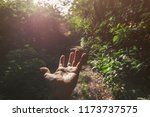 hand touching light in the... | Shutterstock . vector #1173737575