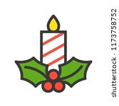 candle and mistletoe  merry... | Shutterstock .eps vector #1173758752
