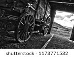 wagon in an open door barn both ... | Shutterstock . vector #1173771532