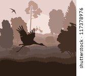 Bird crane landscape background vector - stock vector