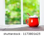 coffee cup on table in cafe... | Shutterstock . vector #1173801625