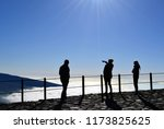 tourists enjoying panoramic... | Shutterstock . vector #1173825625