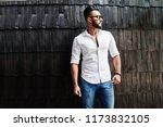 stylish tall arabian man model... | Shutterstock . vector #1173832105