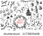 hand drawn ink christmas and... | Shutterstock .eps vector #1173835648