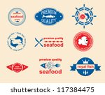 set of vintage and modern... | Shutterstock .eps vector #117384475