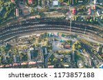 junction railway station with...   Shutterstock . vector #1173857188