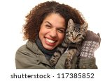 Stock photo beautiful woman with her cat 117385852