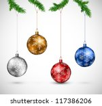 christmas colorful balls... | Shutterstock .eps vector #117386206
