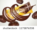 realistic of chocolate wafer... | Shutterstock .eps vector #1173876538