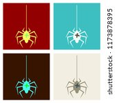 spider and torn web. scary... | Shutterstock .eps vector #1173878395