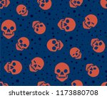 seamless pattern with skull in... | Shutterstock .eps vector #1173880708