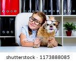 cute little girl wearing... | Shutterstock . vector #1173888085