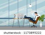 happy businessman working in... | Shutterstock .eps vector #1173895222
