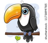 cute cartoon toucan is sitting... | Shutterstock .eps vector #1173899785