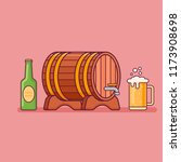 beer bottle  glass and barrel... | Shutterstock .eps vector #1173908698